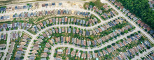 Aerial View Of Houses In Residential Suburbs, Toronto, Ontario, Canada.