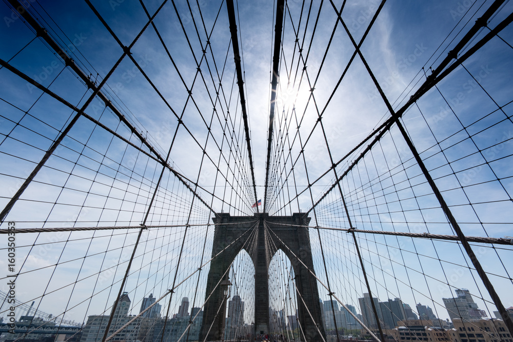 Fototapety, obrazy: Low angle view of cables on Brooklyn Bridge, New York City, USA.