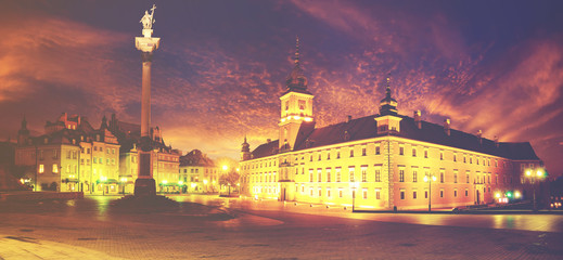 FototapetaRoyal castle in Warsaw, Poland,vintage retro color tone