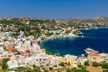 The picturesque coastline of Agia Marina village, Leros island, Dodecanese, Greece