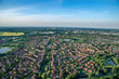 Panorama flight over the east of Hamburg Germany