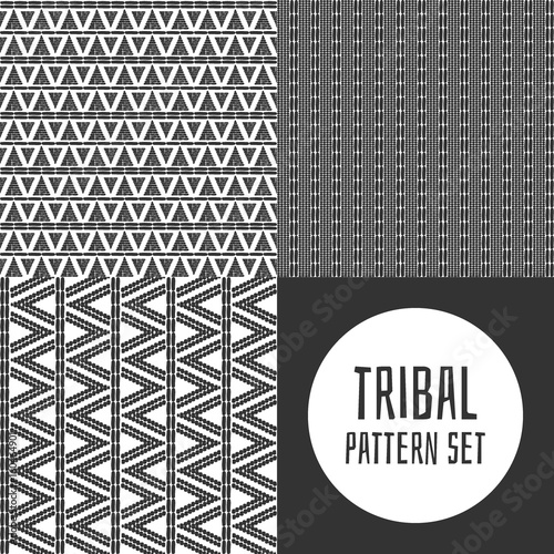 Set Of Tribal Pattern Vector Seamless Black White African Print Native American Aztec