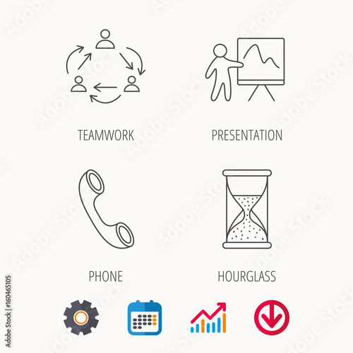 teamwork, presentation and phone call icons  hourglass linear sign   calendar, graph chart and cogwheel signs  download colored web icon  vector