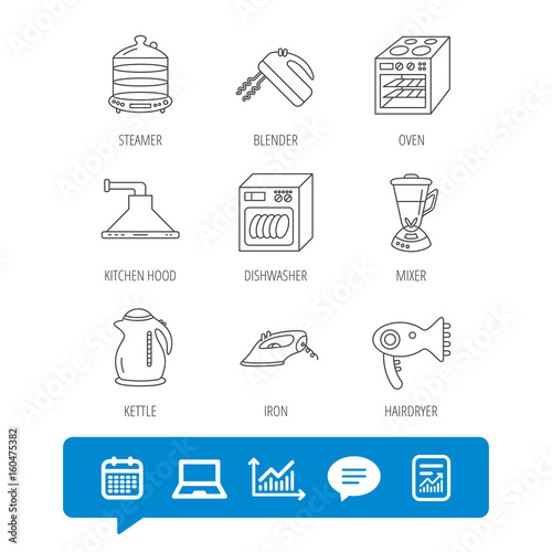 Dishwasher, kettle and mixer icons  Oven, steamer and iron