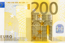 Close-up Of Part 200 Euro Banknote.