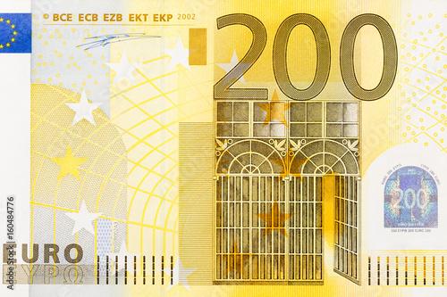 Pinturas sobre lienzo  Close-up of part 200 euro banknote.