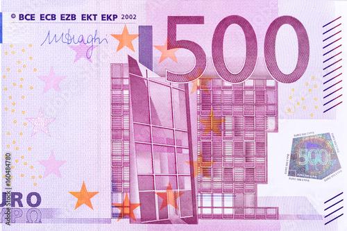 Fotografia  Closeup photo of a part of five hundred euro note.