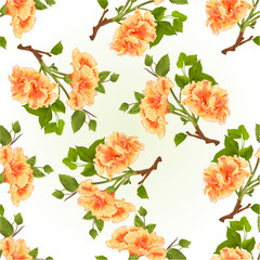 Panel Szklany Podświetlane Egzotyczne Seamless texture branch yellow hibiscus tropical flowers on a white background vintage vector illustration hand draw