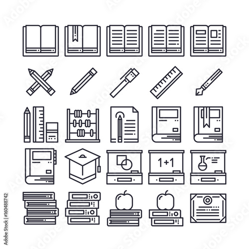 Set of Education Outline Icon design   All Icon designed on 64x64