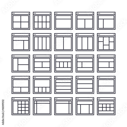 Set of Web Layout Outline Icon design   All Icon designed on 64x64