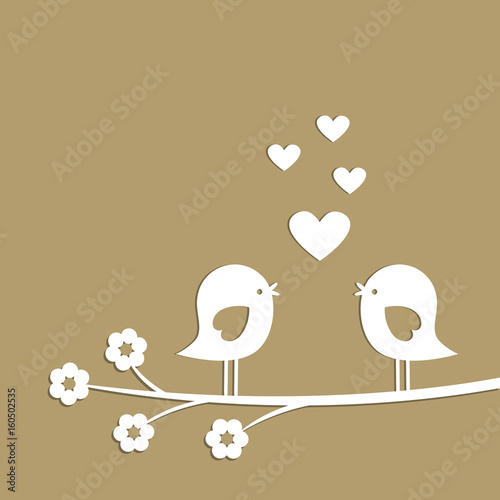 Photo  Cute birds with hearts cutting from white paper