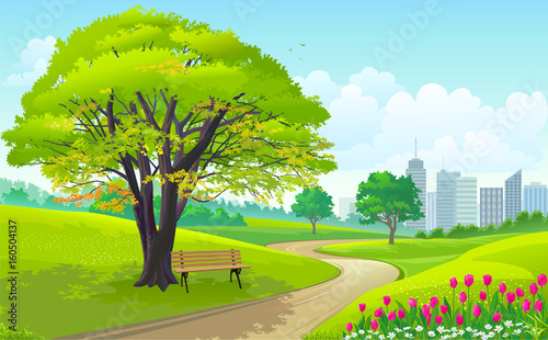 Poster Lime groen Beautiful park outside a busy city