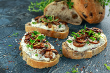 Garlic Mushroom Toast With Creamy Herbed Ricotta Chees Spread