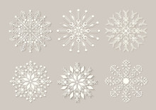Snowflakes Set. Background For Winter And Christmas Theme. Vector Illustration.  EPS10.