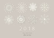 Happy New Year 2018 card with paper snowflakes. Applique background. Vector illustration. EPS10.