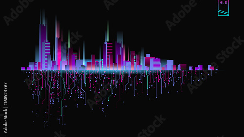 Futuristic city in neon lights. Retro Style 80s - 160523767