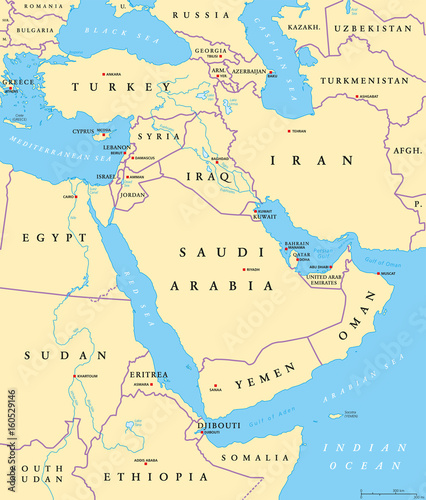 Fotografie, Obraz  Middle East political map with capitals and national borders