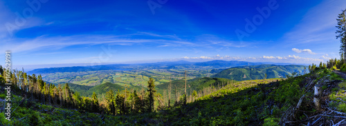 Fototapeta Mountain summer panorama landscape. Beskidy mountain in southern Poland. View at Żywiec, Żywieckie Lake and Babia Góra.