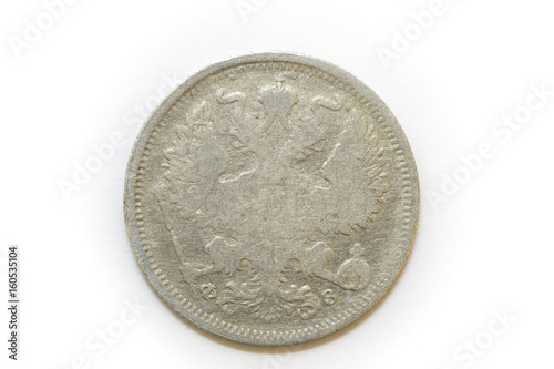Poster  20 kopecks 1901 reverse silver  coin of Russia isolated on white background