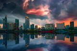 Awesome moment when the storm is coming to the city at riveside of Ho Chi Minh city - the biggest city in Vietnam
