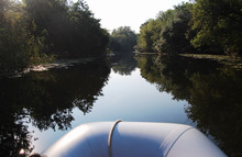 Inflatable Boat On The Wide Ri...