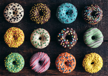 Mini American Donuts On Wooden Background