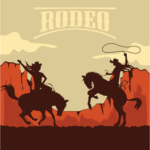 Rodeo Poster With Cowgirl Silh...