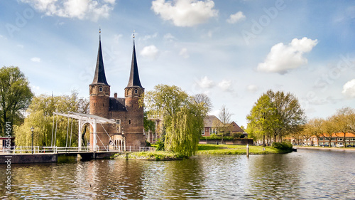 Fotomural Delft, Oostpoort, ponte levatoio e canale
