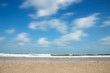 Motion of cloud on the beach in the summer. Out of focus image.