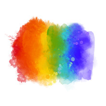 Rainbow Paint Texture, Gay Pride Symbol. Hand Painted Strokes Isolated On White Background. Vector 6 Colors Spectrum.