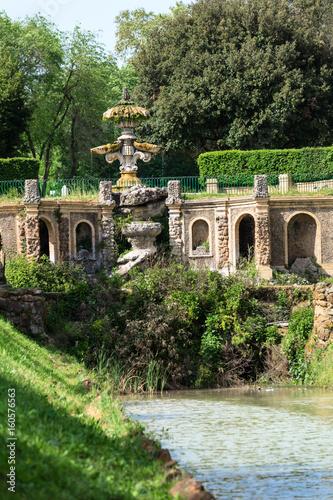 Fotografie, Tablou  Water chanel from fontain Giglio in Villa Doria Pamphili at Via Aurelia Antica