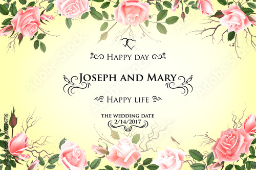 Postcard With Delicate Flowers Roses Wedding Invitation Thank You