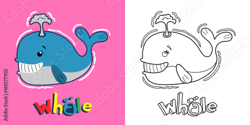 Cute Whale Coloring Page For Children Stock Vector Adobe Stock