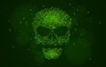 Abstract Glowing Skull Of Green Color From The Symbols. Tags Of Programming Languages. Database. Hacking System Hackers. Html, Php, Css, Java. Vector Illustration