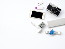 Flat Lay Technology Photo With Smart Devices Props