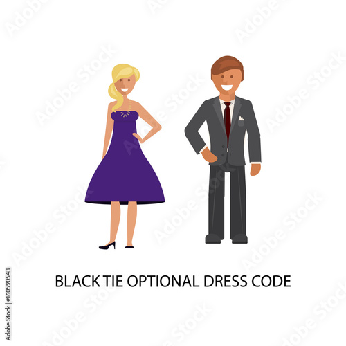 Black Tie Optional Dress Code Man And Woman In Smart Casual Style