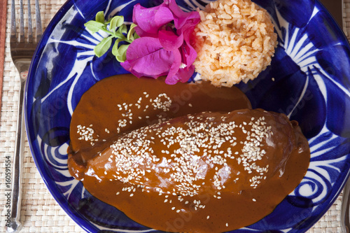 Fotografie, Obraz  mole and rice served on a Talavera plate