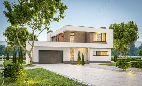Fotografie, Obraz  3d rendering of modern house at evening