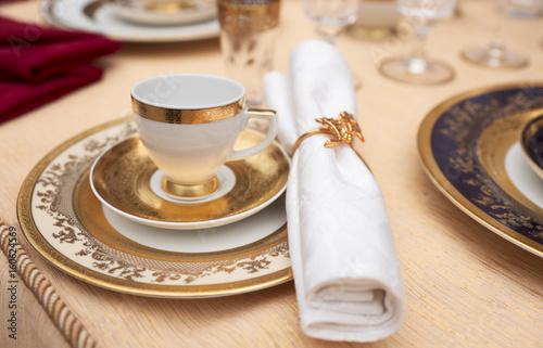 Photo Set of fine bone porcelain dishware