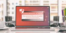 Ransomware Alert On A Laptop Screen. 3d Illustration