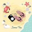 Summer beach background, vector illustration