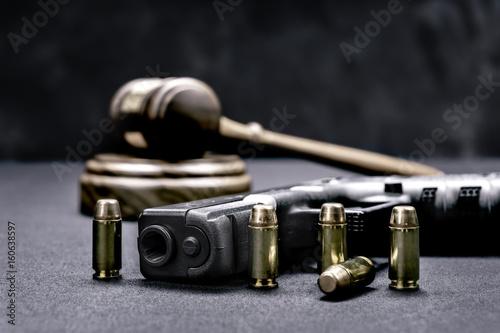 Vászonkép Gavel and gun rights