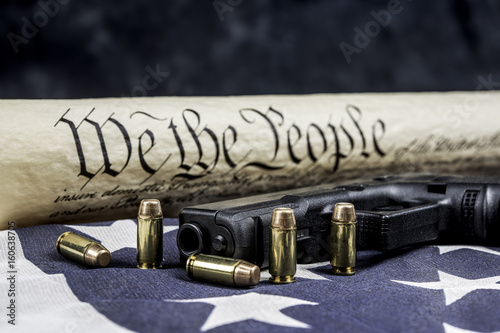 Fotografia, Obraz  United States constitution and gun rights
