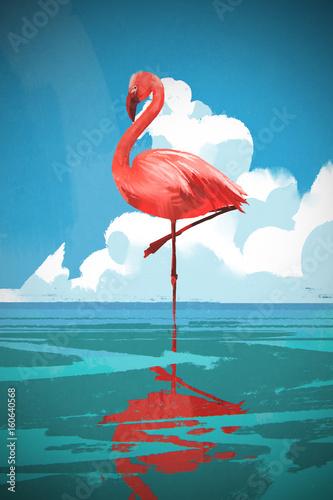 Fototapeta premium Flamigo stojący na morzu przeciw latem błękitne niebo z cyfrowym stylem sztuki, malowanie ilustracji