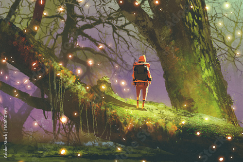Poster Lavendel hiker with backpack standing on giant tree with fireflies in enchanted forest, digital art style, illustration painting