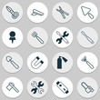 Tools Icons Set. Collection Of Location, Spanner, Attraction And Other Elements. Also Includes Symbols Such As Axe, Attraction, Spanner.