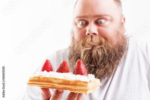 Man staring at dessert Canvas Print