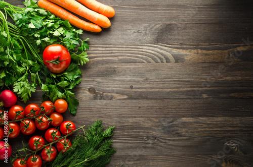 Fototapeta Fresh vegetables. Colorful vegetables background. Healthy vegetable . Assortment of fresh vegetables close up.Healthy food obraz na płótnie