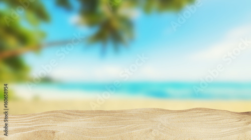 Foto-Kissen - Tropical beach with sand, summer holiday background. (von Jag_cz)