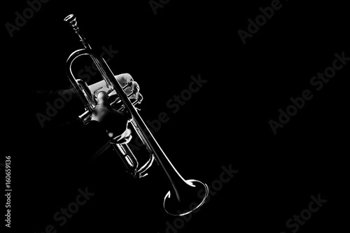 Recess Fitting Music Trumpet player. Trumpeter playing jazz